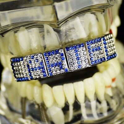 Blue Grillz Customized Name 6 Letters Personalized Iced Custom Top Teeth Grills