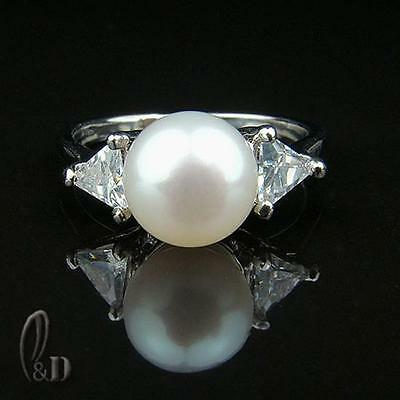 Chic Gorgeous White Genuine pearls Sparkling Ring AU SELLER 09030-3
