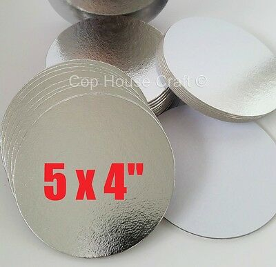 "5 x 4"" ROUND THIN CUT EDGE SILVER BOARDS cake cupcake cards sugarcraft culpitt"