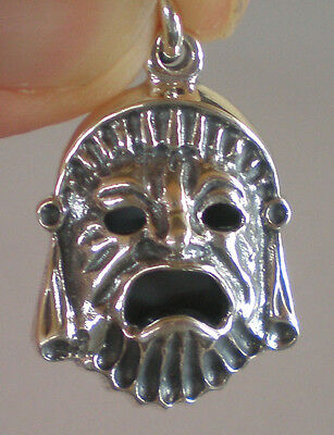 Ancient Greek Theater Silver Drama Mask Silver Pendant - Tragedy