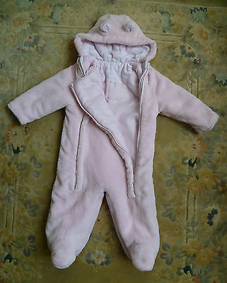 Baby clothes GIRL 6-9m George soft fleecy snowsuit/pramsuit 2 front zips