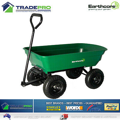 Garden Cart PRO Tip H/Duty 250kg Tuff Poly Tray Lawn Towing Trolley Wagon Pull