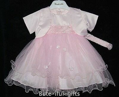 Baby Girls Dress Bolero & Headband Wedding Christening Party Flower Girl