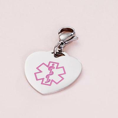 Clip on Medical Charm, Heart with Pink Medical Symbol, FREE Engraving!