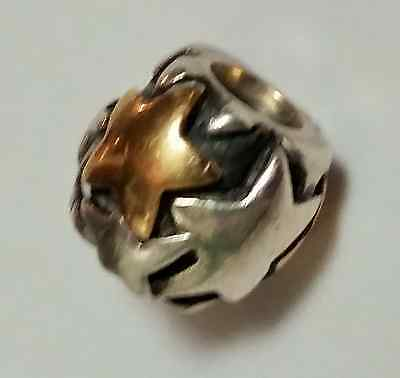 """Authentic Pandora Charm Sterling Silver w/14 K """"Golden Star"""""""