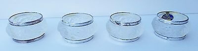Vintage Set 4 Frosted Rose Napkin Ring Wh Adams crystal siverplate 1 3/4""