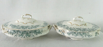 2 Covered Bowls Knowles Taylor & Knowles Semi Vitreous Green Transferware KTK