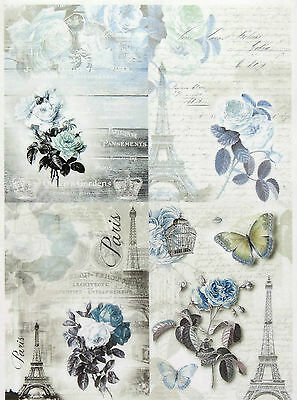 Rice Paper for Decoupage, Scrapbook Sheet, Craft Blue Paris Small