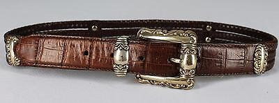"""Brighton 96807 Brown Braided Leather Belt With Silver Accents Size S 32.5"""""""