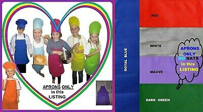 1x Kids CHEF APRON Childs Cooking School Birthday Party Many Colours 26x28cm