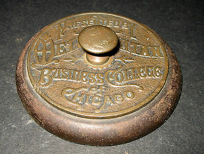 """Vintage Rare Cast Iron 3"""" 1/2  Round Paper  Weight With Knob Handle"""