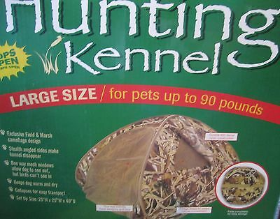 Sport Pet HUNTING DOG KENNEL Large Lg 90 lbs camo camoflage tent stakes compact