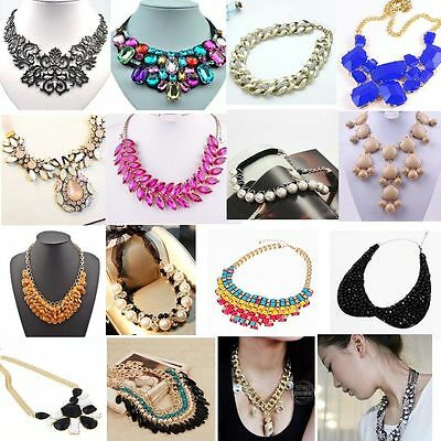 Fashion Charm Jewelry Crystal Chunky Statement Bib Pendant Chain Choker Necklace