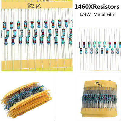 1460pcs 73 Values Metal Film Resistor Kit Pack Mix Assortment 1/4W ±1% 1R to 1M