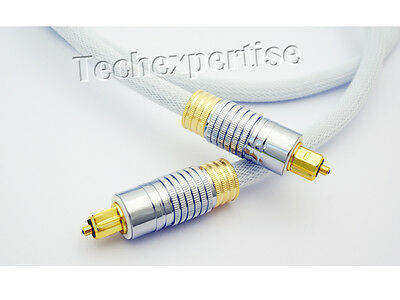 2m Premium Toslink Optical Fibre Cable S/PDIF 5.1 7.2 Digital Audio Gold Plated