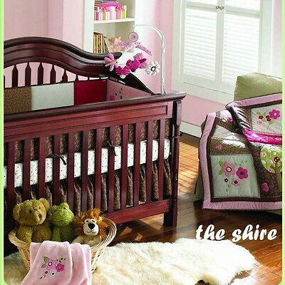 Baby Bedding Crib Cot Quilt Sheet Set-NEW 7pcs Quilt Bumpers Sheet Dust Ruffle..