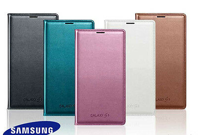 Official Samsung Galaxy S5 Flip Wallet Case Cover - NEW Genuine Original SV