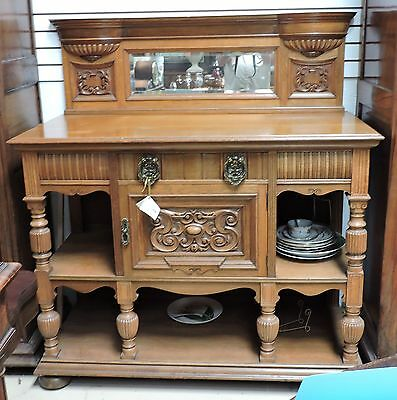 Antique English Quarter Sawn Oak Sideboard Buffet Cabinet w Mirror
