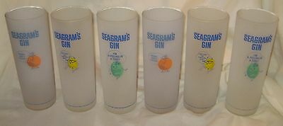 """Lot of 6 Seagrams Gin 7"""" Frosted Glasses 1950's UNUSED NEW RARE Barware"""