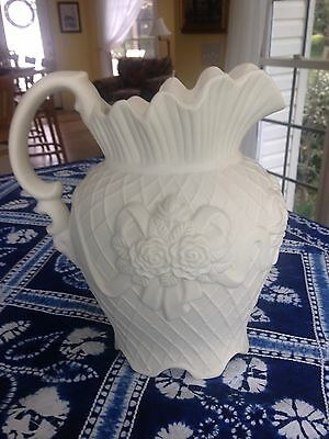 Victorian Rose Motif Antique-White American Bisque 2-quart Pitcher
