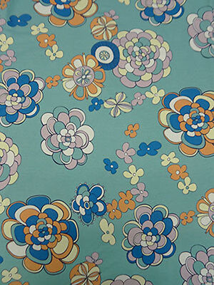 Retro Inspired Soft  Knit Floral Fabric Pop Art Design Blue Flowers BY the Yard