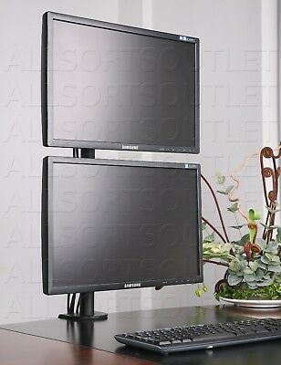 Vertical Dual Double Lcd Monitor Stand Clamp Mount Adjustable 2 Screens 15-27""
