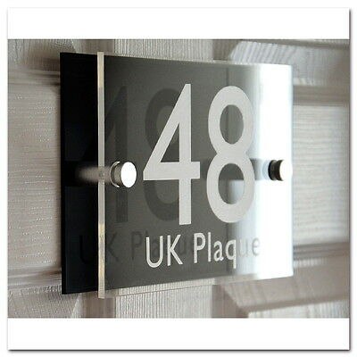 Personalised Modern House Sign Door Number Home Street Name Address Wall Plaques