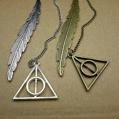 Antique Bronze Silver Harry Potter Deathly Hallows Pendant Feather Bookmark Gift