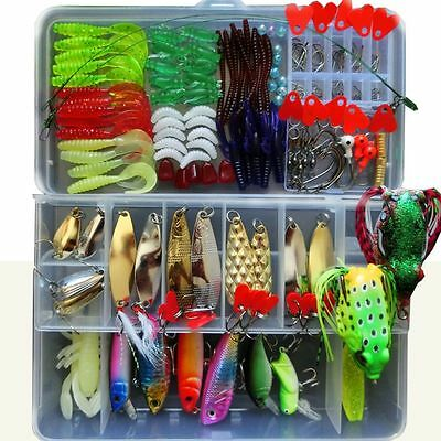 194pcs Assorted Minnow Popper Spoon Frog Fishing Lure Soft Bait Tackle Mixed Lot