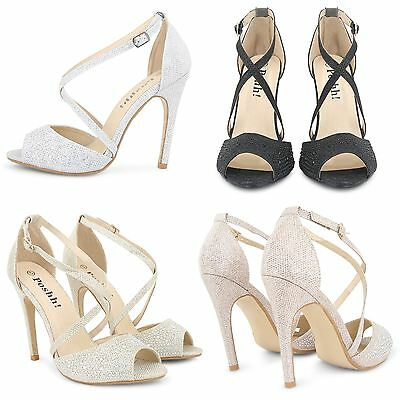 Womens Ladies High Heel Weddding Sandals Party Stiletto Strappy Prom Shoes Size
