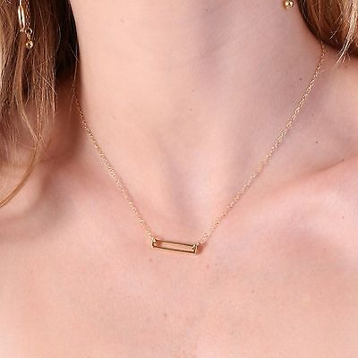 14K Yellow Gold Filled Necklace Pendant Rectangle Necklace FREE SHIPPING