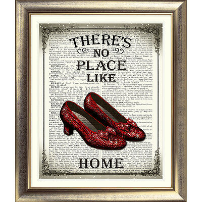 ART PRINT ON ORIGINAL ANTIQUE BOOK PAGE Wizard of Oz Dictionary RED SHOES Quote