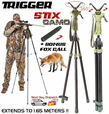 Camo Tripod Shooting Trigger Stick Gun Hunting Rifle Stand Support Rest +foxcall