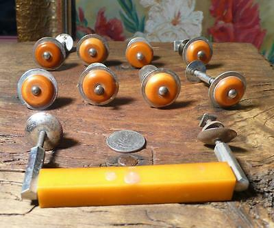 9 art deco TESTED bakelite metal Pull handles knobs 175 grams-0,385pound(s12250)