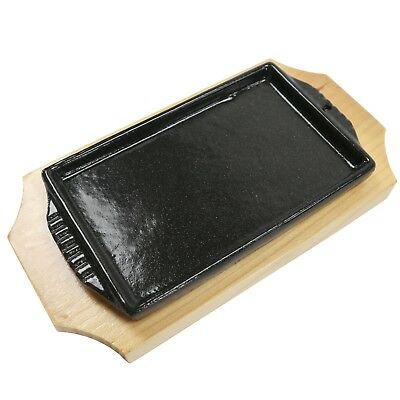 Small Rectangular Cast Iron Steak Plate With Heat Proof Wood Tray Metal Plate