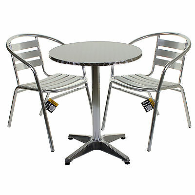 Aluminium Lightweight Chrome Bistro Sets Round Square Tables Stacking Chairs