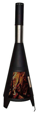 Outdoor Garden Chimenea Patio Heater Chimnea Bbq Chimney Chiminea Black 120Cm