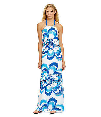 NWT $199 Belle BADGLEY MISCHKA Belle Beaded Floral Halter Maxi Dress, Blue Multi