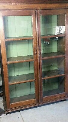 Shabby Rustic Antique Large Wood Cabinet