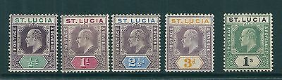 St. Lucia 1902-3 SG 58-62 MM
