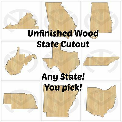 Unfinished Wood State Shape Laser Cutout, Wreath Accent, Ready to Paint, Smaller