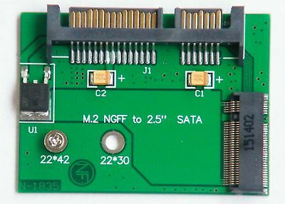 7+15 pin SATA to 22*42 mm M.2 NGFF Solid State Drive SSD adapter card