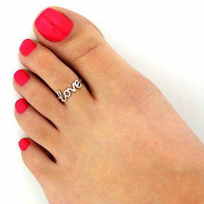 Mother's Day Gift Celebrity Silver Love Toe Finger Ring Adjustable Beach Jewelry