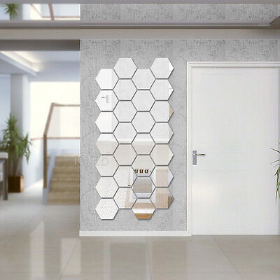 Modern 12pcs 3D Mirror Geometric Hexagon Acrylic Wall Sticker Decor Art DIY Home
