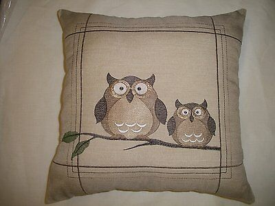 """Barn Owls Embroidered Olly N Buddy 16"""" Cushion Cover £5.99Each Free Postage"""