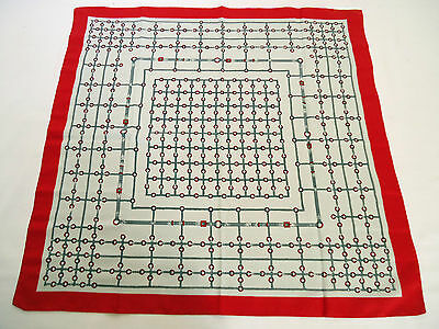 Vintage 1970's Red and Grey Scarf With Equestrian Bridle Print Geometric
