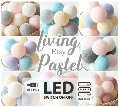 PASTEL COTTON BALL LED BATTERY/USB STRING LIGHTS Nursery Bedroom Kids room Decor