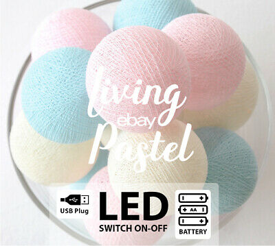 LED162 BATTERY/USB PASTEL PINK BLUE IVORY COTTON BALL LIGHTS for Kids House Bed
