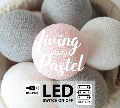 LED329 BATTERY/USB COTTON BALL LIGHTS for Kids House Bed PASTEL PINK WHITE GREY