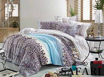 All Size 100% Cotton 420tc Reversible Quilt Duvet Doona Cover 3 Pcs Set SAFARI